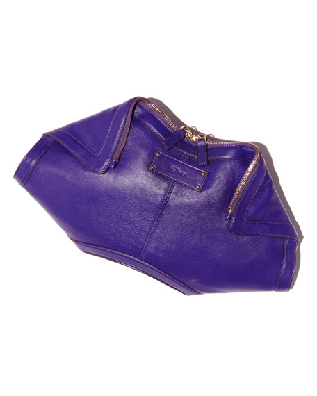 De-Manta Leather Clutch Bag, Purple