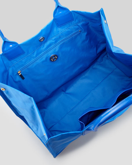 Ella Nylon Tote Bag, Peacock Blue