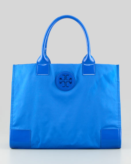 Tory Burch Ella Nylon Tote Bag, Peacock Blue