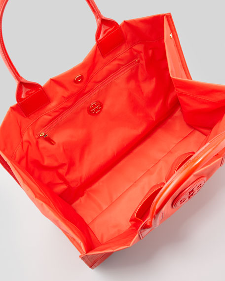 Ella Nylon Tote Bag, Electric Orange