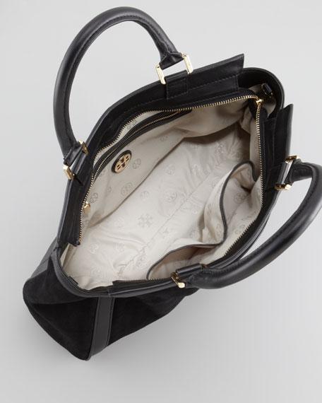 Gloria Suede Satchel Bag, Black