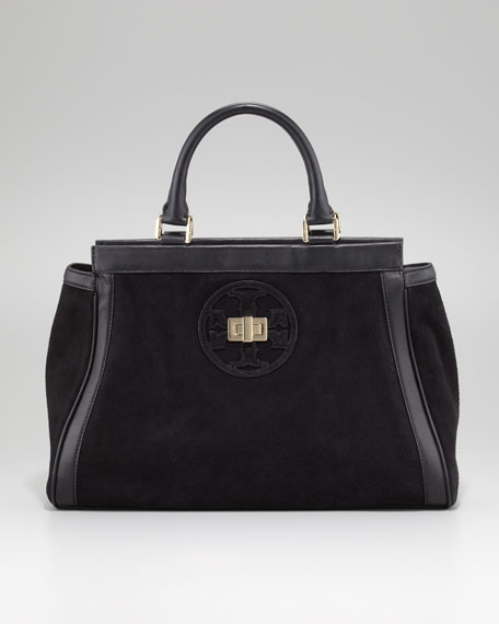 Gloria Suede Satchel Bag, Black