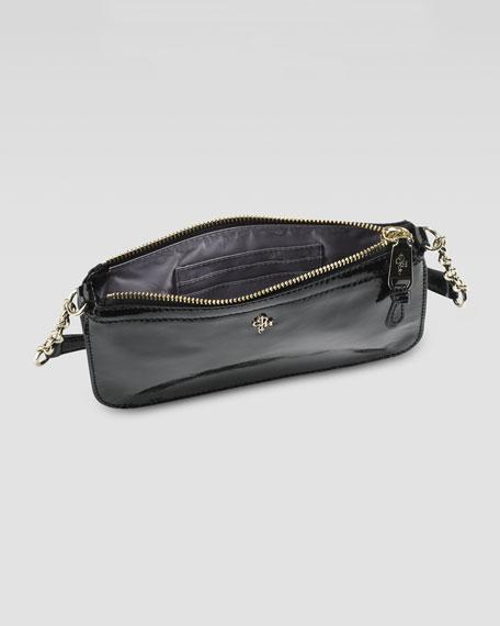 Jitney Patent Zip-Top Crossbody Bag, Black