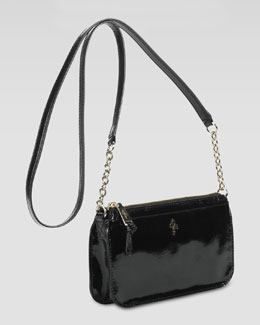 Cole Haan Jitney Patent Zip-Top Crossbody Bag, Black