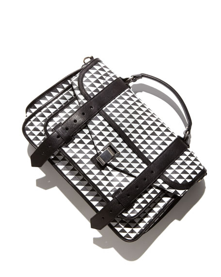 PS1 Triangle-Print Medium Satchel Bag, Black/White