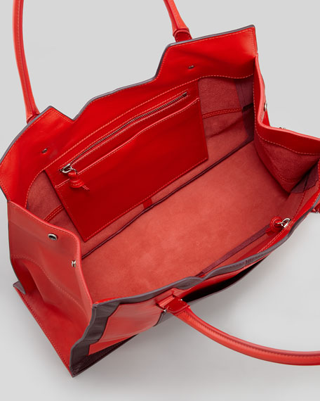 Takeout Colorblock Tote Bag, Orange/Red