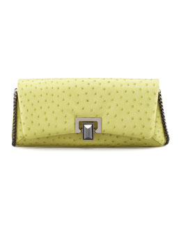 Kara Ross Honora Ostrich Shoulder Bag, Green/Yellow