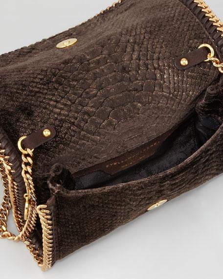 Snake-Embossed Velvet Crossbody Bag, Bronze