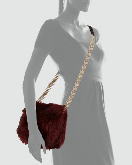 Grizzly Faux-Fur Crossbody Bag, Garnet