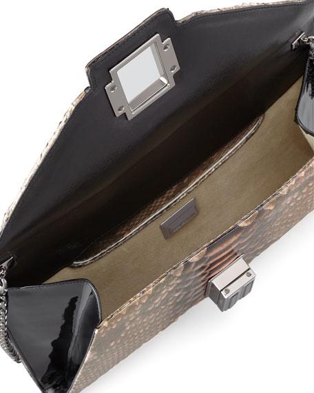 Electra Medium Python Clutch Bag, Gold