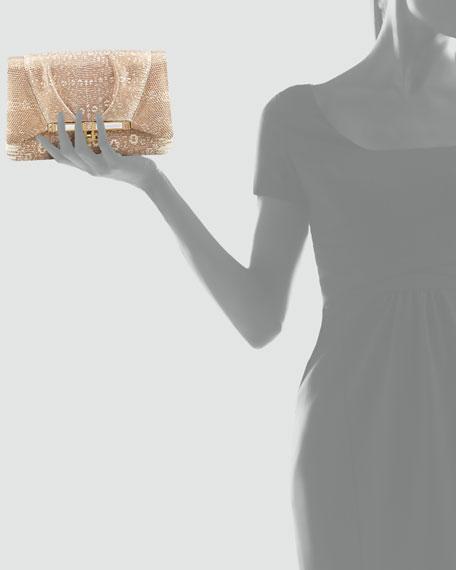 Priscilla Lizard Clutch Bag, Golden