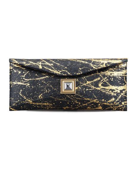 Prunella Stretch Lizard Clutch Bag, Black/Gold