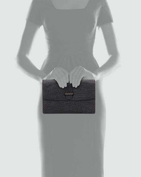Laura Pebbled Clutch Bag, Gray