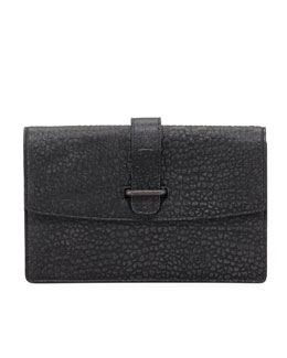 Belstaff Laura Pebbled Clutch Bag, Gray