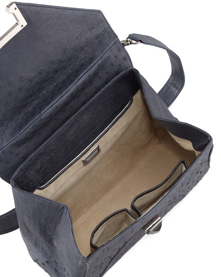 Trinity Ostrich Satchel Bag, Navy