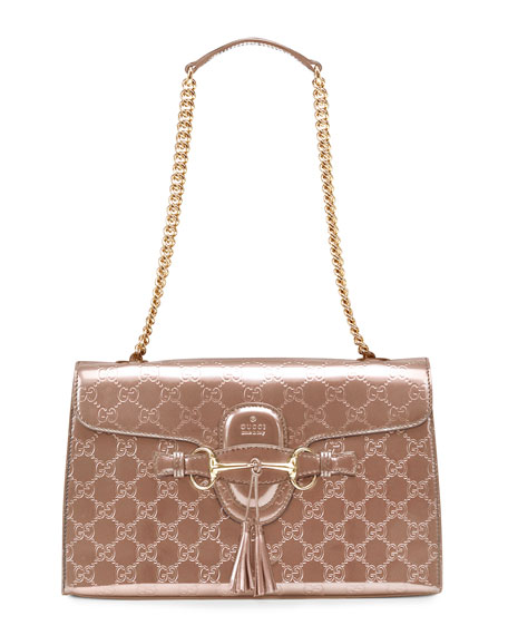 Emily Shine Guccissima Leather Chain Shoulder Bag, Beige