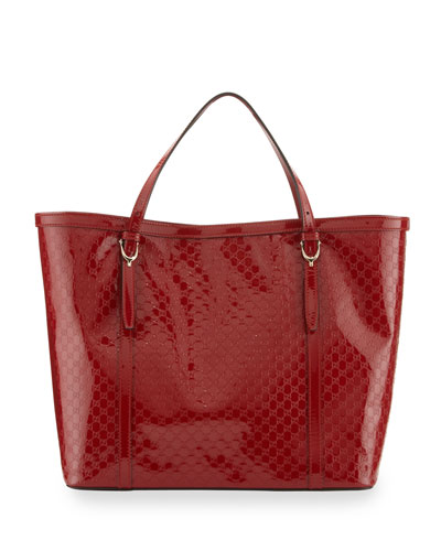 Gucci Nice Microguccissima Patent Leather Tote, Red