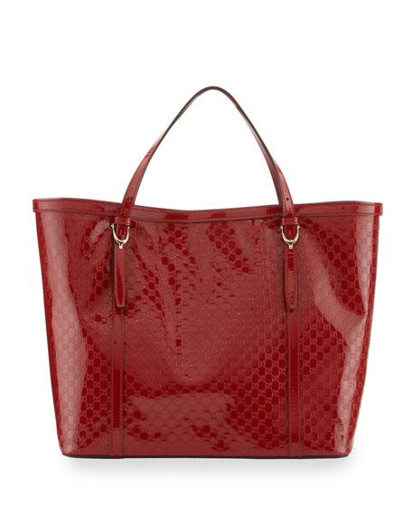 Gucci Gucci Nice Microguccissima Patent Leather Tote, Red