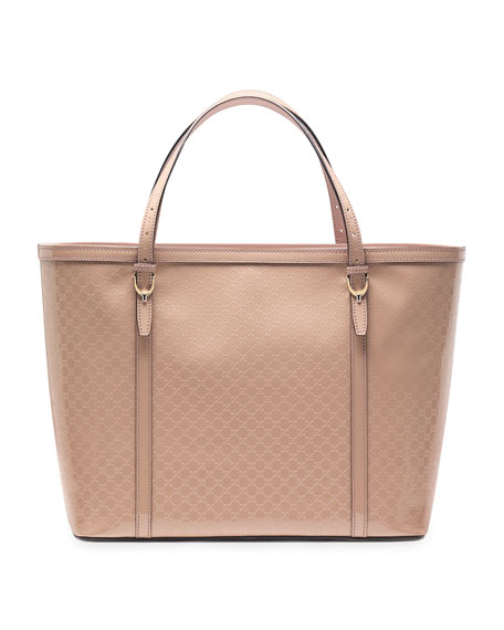 Gucci Nice Microguccissima Patent Leather Tote, Nude