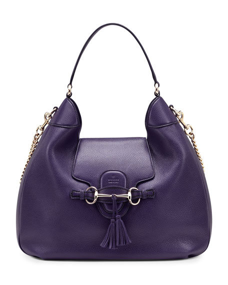 Emily Leather Hobo Bag, Purple