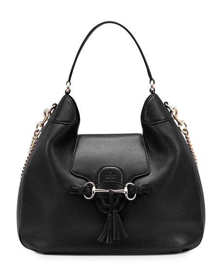Emily Leather Hobo Bag, Black