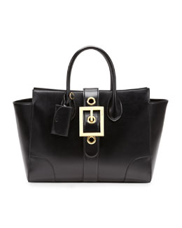 Gucci Lady Buckle Leather Top Handle Bag, Black