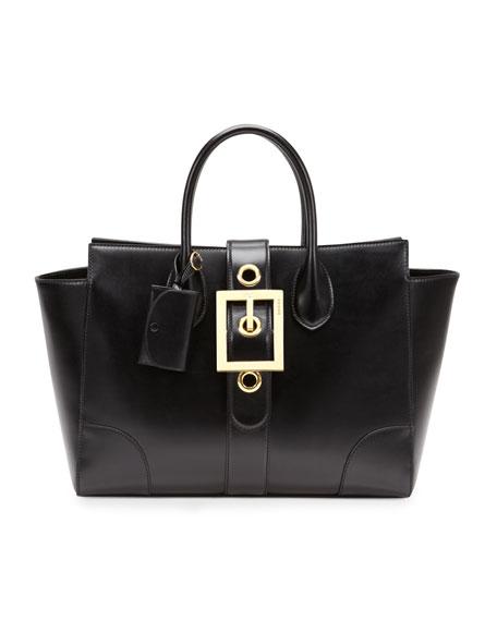 Lady Buckle Leather Top Handle Bag, Black
