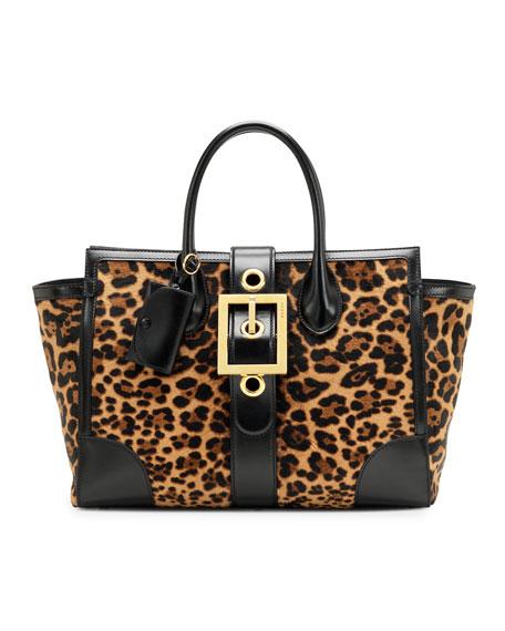 Lady Buckle Jaguar Print Top Handle Bag, Black