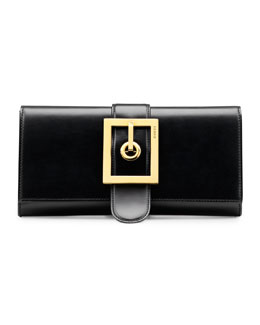 Gucci Lady Buckle Leather Clutch, Black