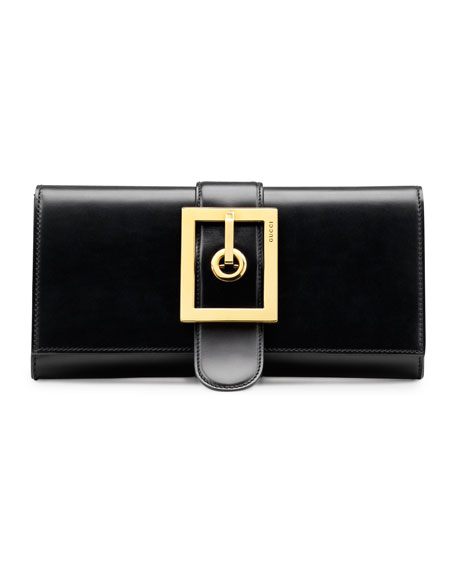 Lady Buckle Leather Clutch, Black