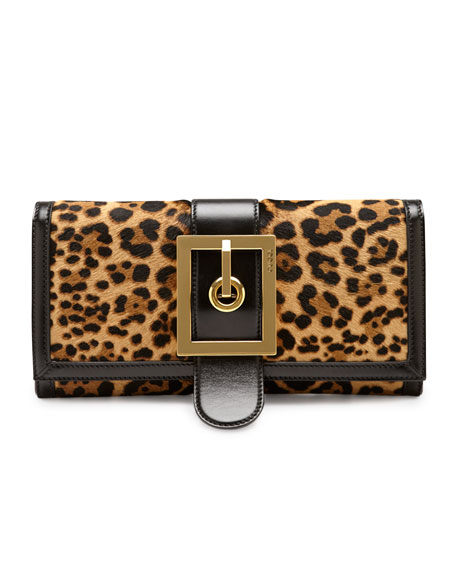Lady Buckle Leopard-Print Clutch