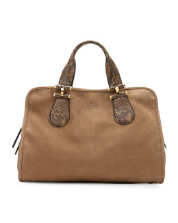 Gucci Twice Suede and Python Top Handle Bag, Tan