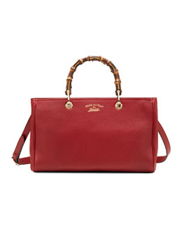 Gucci Bamboo Shopper Leather Tote Bag, Red