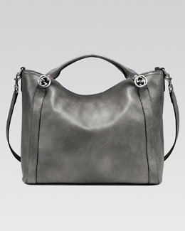 Gucci Miss GG Leather Top Handle Bag, Dark Gray