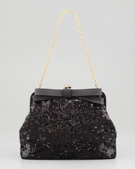 Sequin Pochette Shoulder Bag, Black