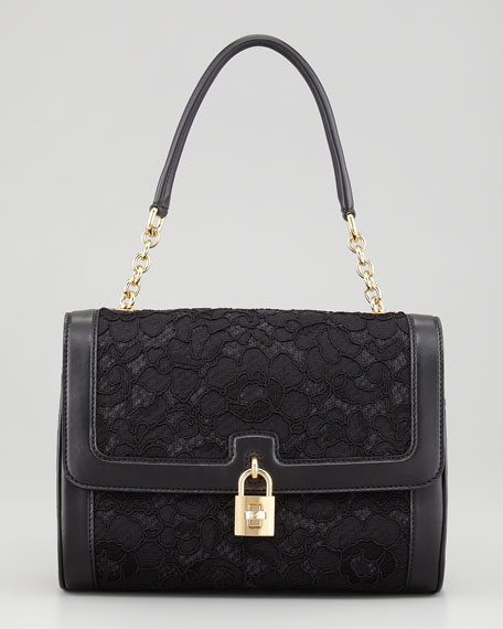 Miss Dolce Lace Shoulder Bag, Black
