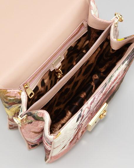 Floral-Print Tapestry Flap-Lock Handbag, Pink