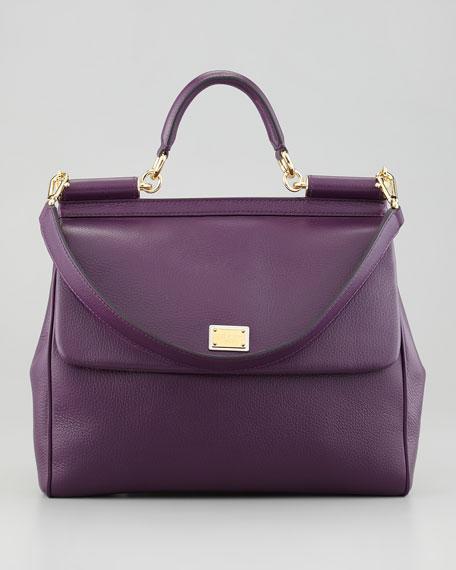 Miss Sicily Flap-Top Bag, Purple