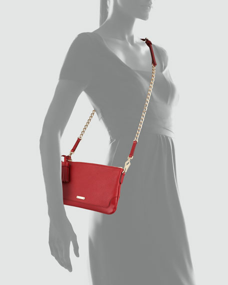 Leather Tassel Crossbody Bag, Red