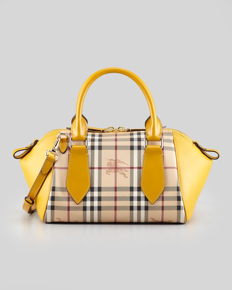 Small Check/Leather Crossbody Satchel Bag, Gold