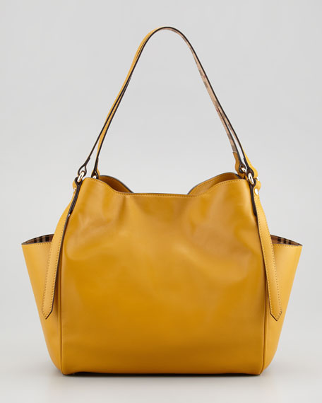 Small Leather Tote Bag with Pockets, Gold