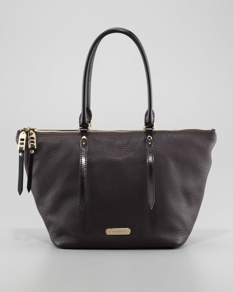 Two-Way Zip Leather Tote Bag, Chocolate