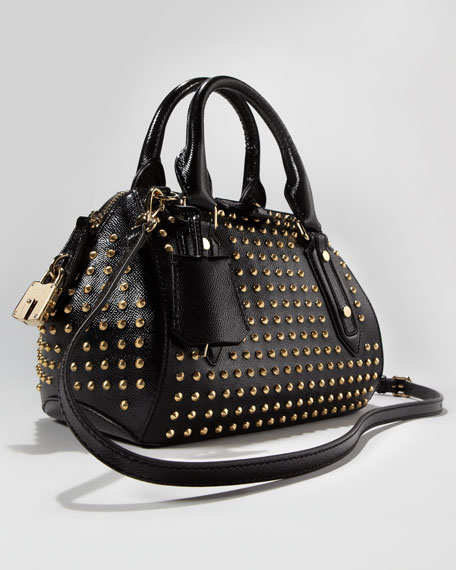 Studded Leather Satchel Bag Small