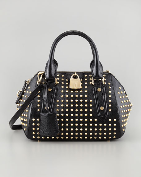 Studded Leather Satchel Bag, Small