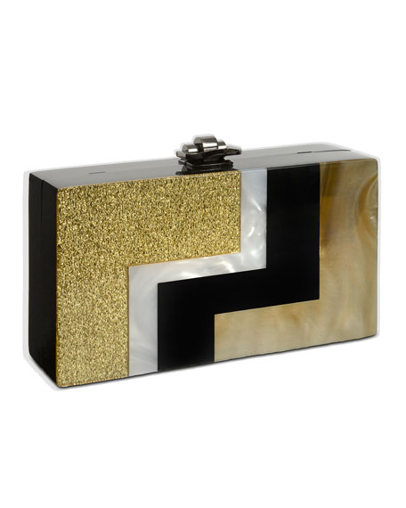 Alicia Lucite Box Clutch, Golden/Black