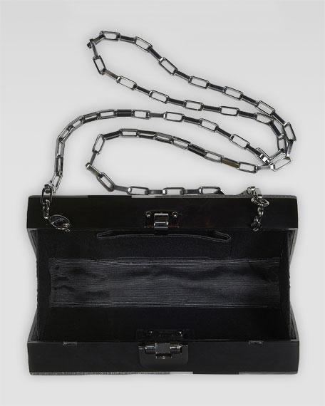 Alicia Lucite Box Clutch, Silver/Black