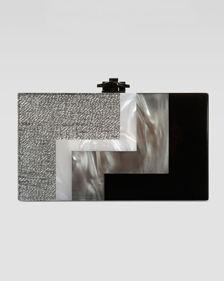 Alicia Lucite Box Clutch, Silver/Black