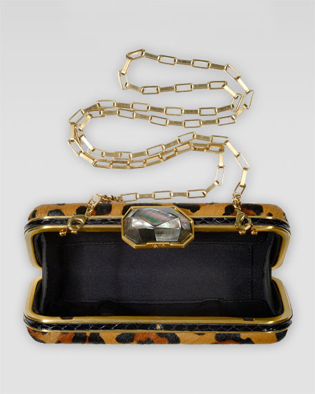 Demi Leopard-Print Calf Fur Box Clutch