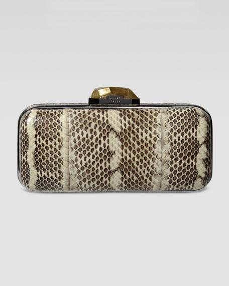 Demi Watersnake Box Clutch Bag, Natural