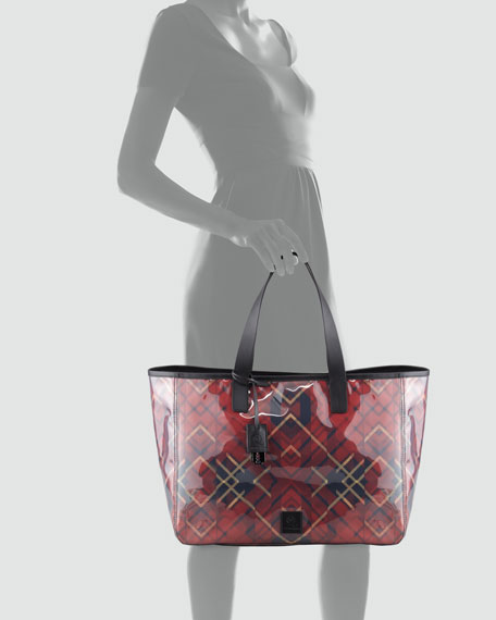 East-West Plaid Tote Bag, Red